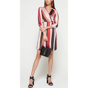 Bar III Striped Midi Wrap Dress